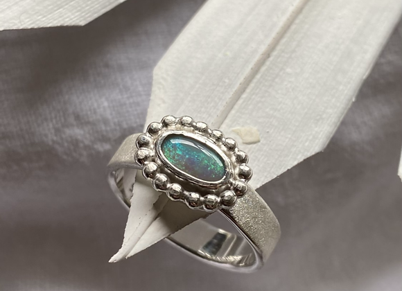 Halo ring with Australian opal Size S 1/4