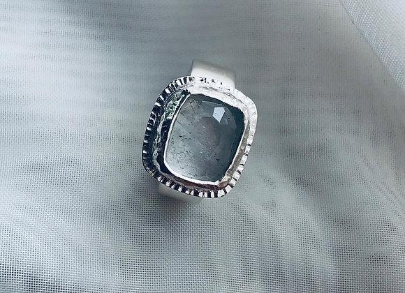 Sterling Silver/Blue beryl(aquamarine) ring. Size N