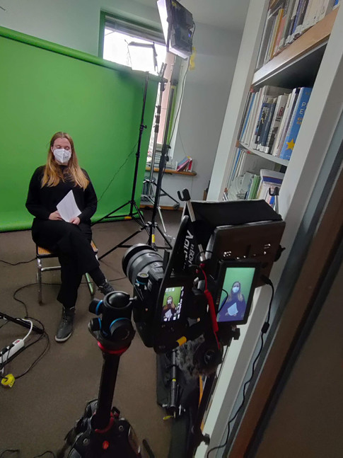 Green screen set up for interview
