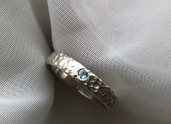 Reef Textured Silver Ring with Swiss Topaz