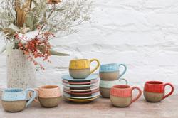 Xícara round café com pires _ Colorido