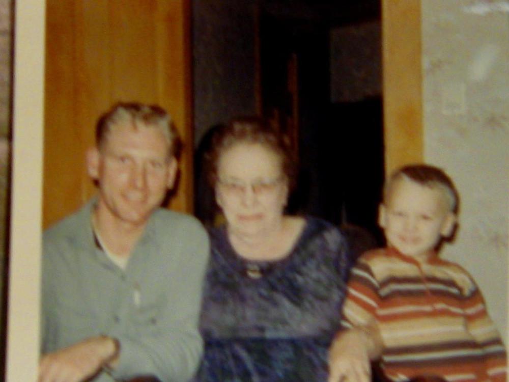 My Dad, Great Grandmother Jones and Me.