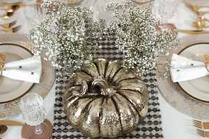 October Tablescapes: Whimsical White and Gold Pumpkin Themed Fall Tablescape