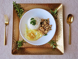Minced Pork or Chicken with Thai Basil Bangkok Style (Pad Kra Pao)