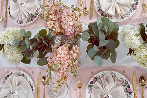 September Tablescapes: Greenery and Dusty Pink Hathaway Rose Table Setting