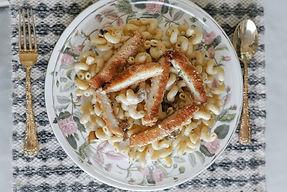 Creamy Mushroom Cavatappi with Crispy Chicken