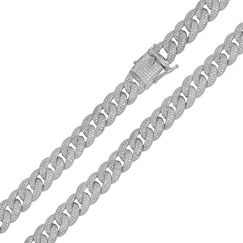 Sterling Silver Diamond Simulant Encrusted Curb Chain