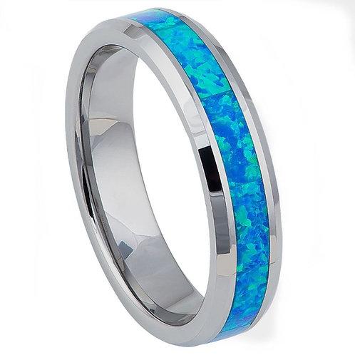 Tungsten Opal Inlay Ring
