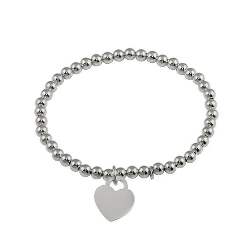 Beaded Heart Tag Bracelet