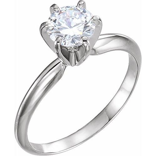 6 Prong Round Brilliant Cut Moissanite Solitaire