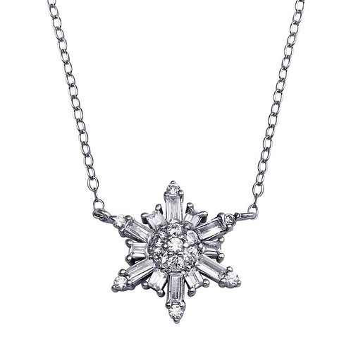 Snowflake Silver Necklace 6 Point