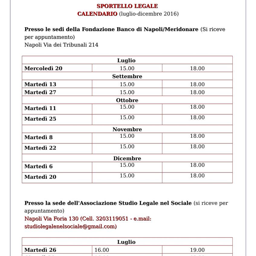 CALENDARIO SPORTELLO LEGALE MERIDONARE 2016-1
