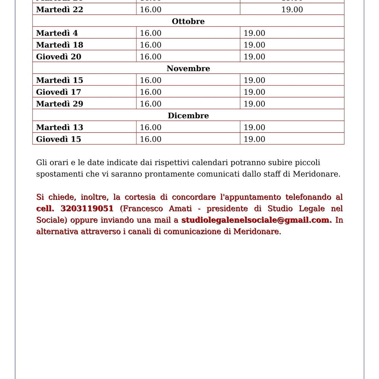 CALENDARIO SPORTELLO LEGALE MERIDONARE 2016-2