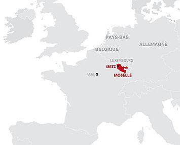 carte de localisation de la Moselle, au coeur de l'Europe
