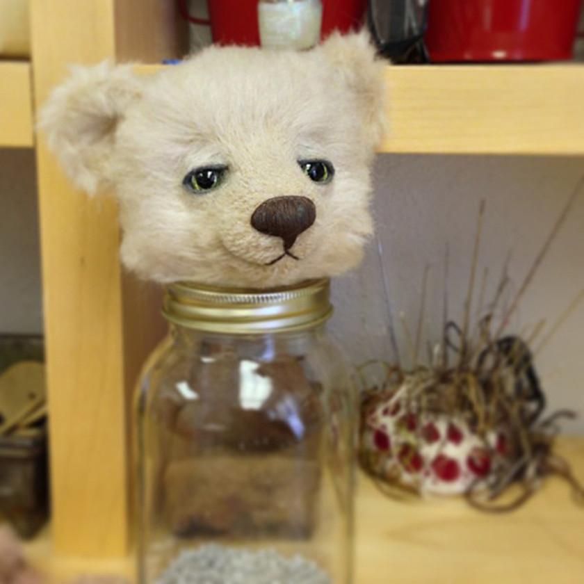 Bear head on a Mason jar