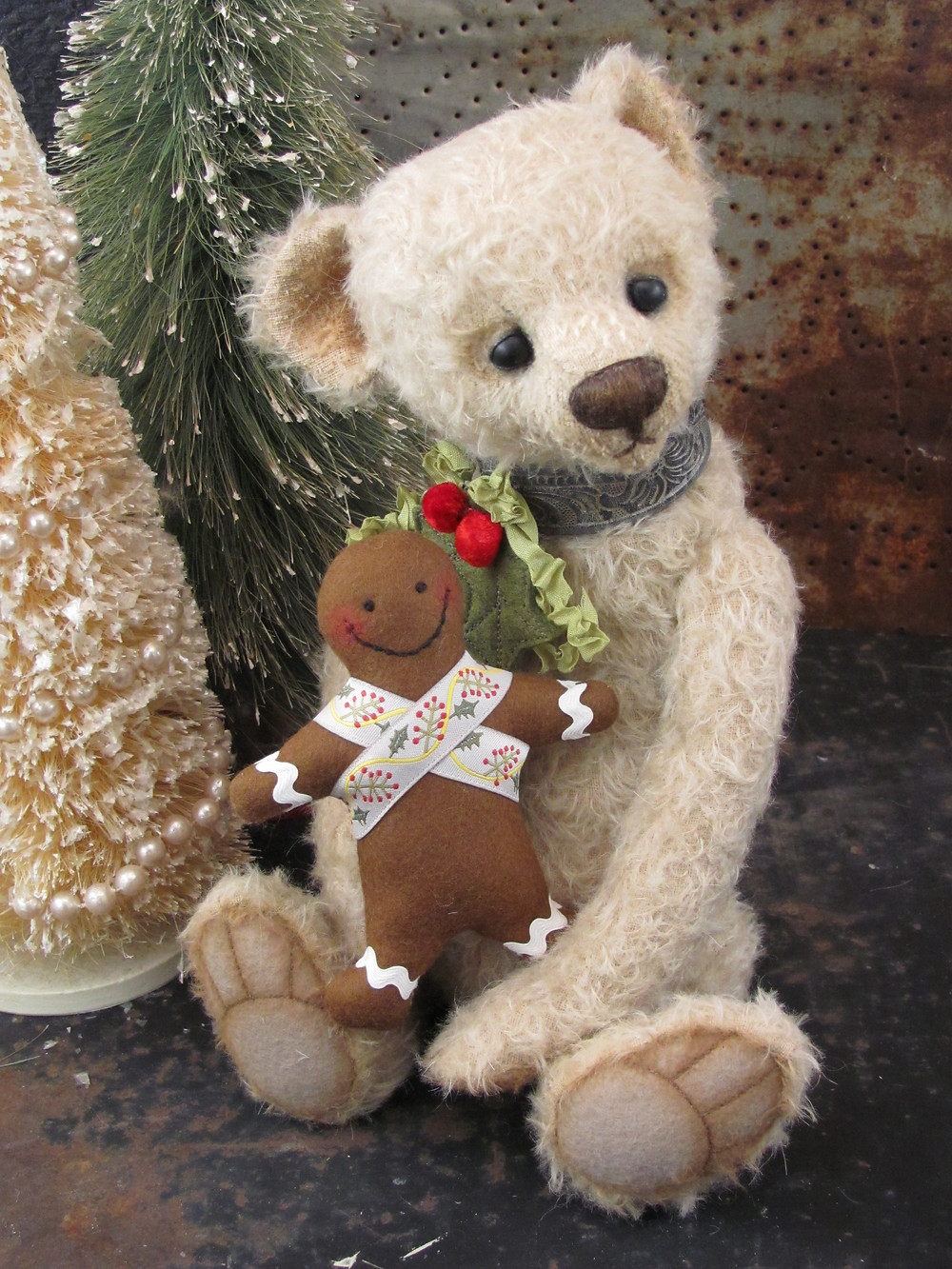 Holiday Christopher, a Potbelly Bear by Shelli Quinn of Shelli Makes
