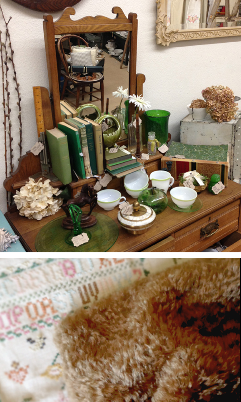 Antique vignette with green, brown, & gold palette