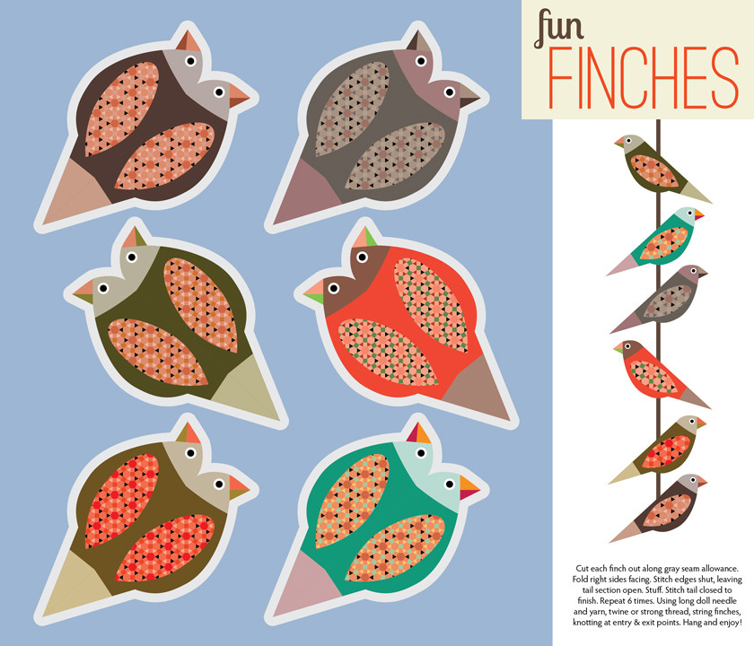 Fun Finches contest winning fat quarter design for Spoonflower's Etsy Craft Party compeitition