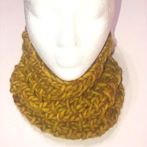 Merino Wool Handknit Chunky Cowl - Mustard Yellow