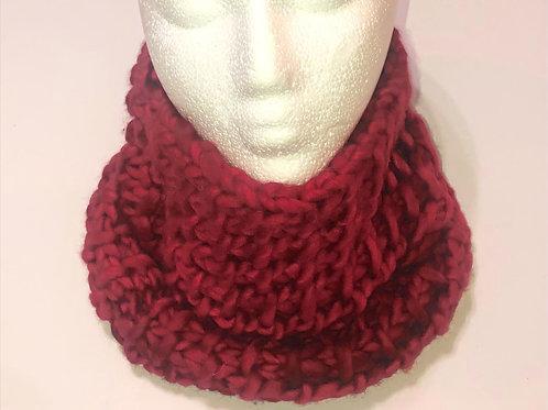 Merino Wool Handknit Chunky Cowl - Red