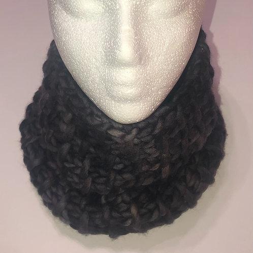 Merino Wool Handknit Chunky Cowl - Charcoal Gray Tones