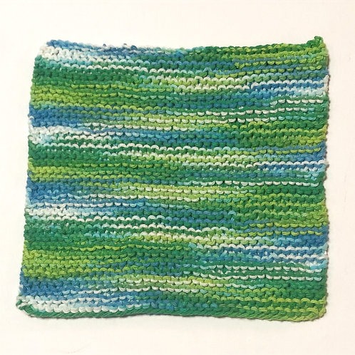 Cotton Handknit Dishcloth in blue, green and white