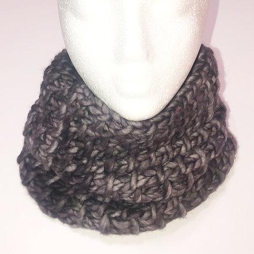 Merino Wool Handknit Chunky Cowl - Gray Tones
