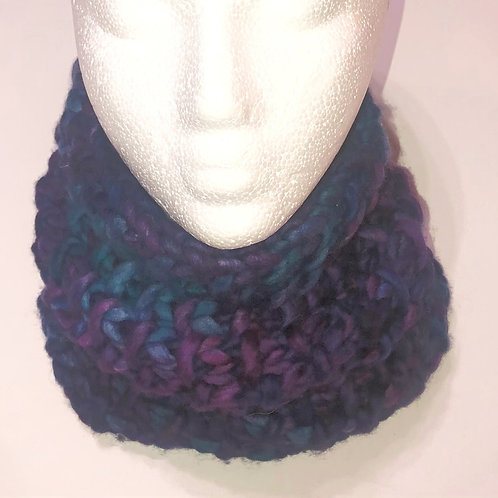 Merino Wool Handknit Chunky Cowl - Violet with Teal & Blue