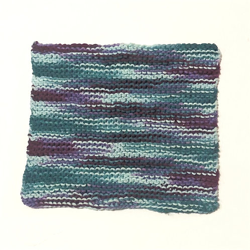 Cotton Dishcloth in teal & light blue with purple tones