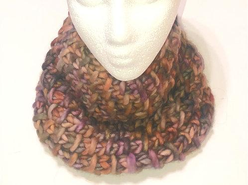 Merino Wool Handknit Chunky Cowl - Multi Purplish-Brown Tones