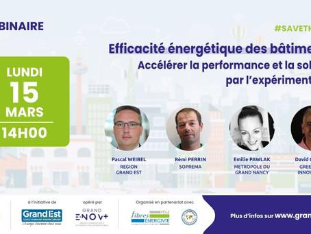 """Webinaire Grand E-Nov+ : """"Efficacité énergétique des bâtiments"""" lundi 15 mars 2021 !"""