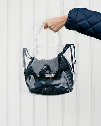 RAUS MARGAUX PVC TOTE WITH DRAWSTRING QUILTED POUCH