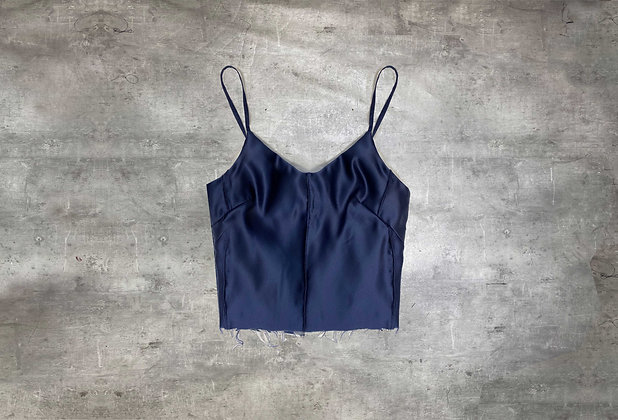 NAVY SILK TOP WITH FRAYED EDGES