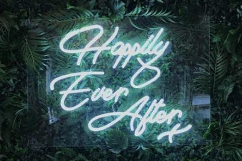 'Happily Ever After' White Neon Sign