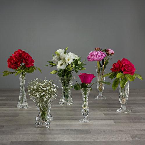 Clear Crystal Vintage Bud Vases