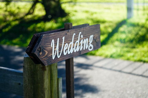 Rustic 'Wedding' Wooden Signpost Stake