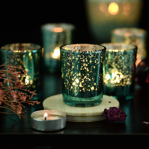 Turquoise Speckled Tea Light Candle Holders