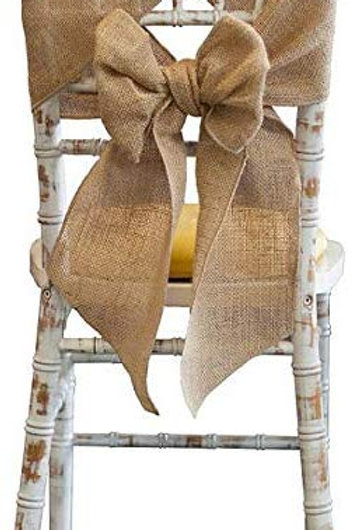 Hessian Burlap Chair Drapes / Tie Backs / Bows and Runners