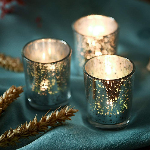Silver Speckled Tea Light Candle Holders