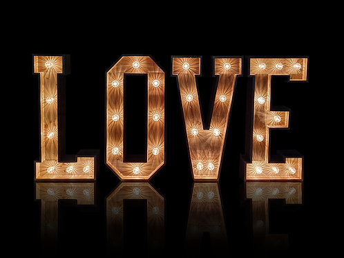 Rustic Wooden Light Up LOVE Letters with Fairground Style Bulbs