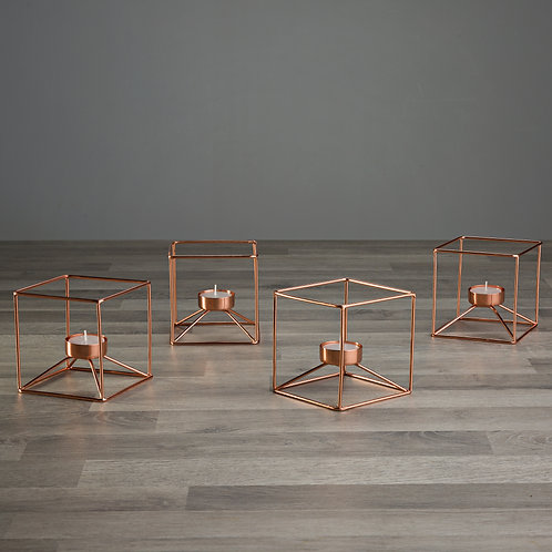 Rose Gold Copper Geometric Cube Candle Holders