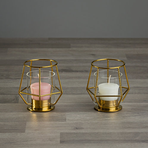 Small Gold Geometric Pentagon Candle Holder