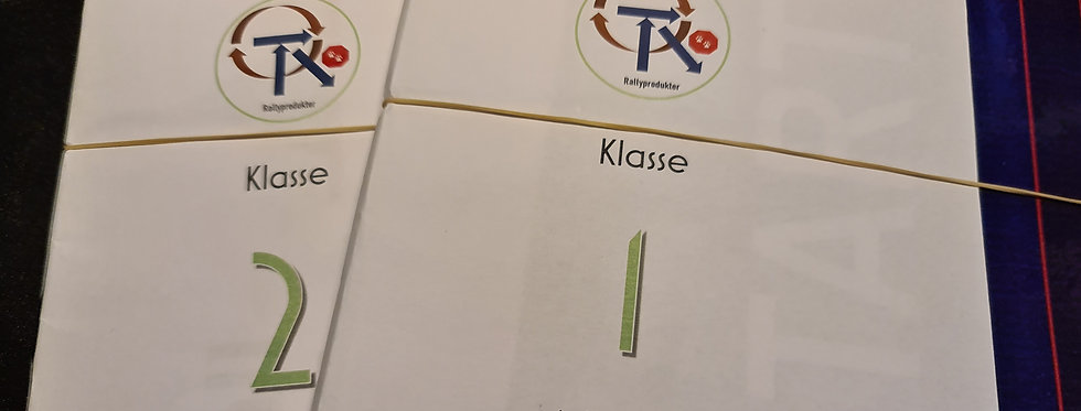 Norske rallylydighetsskilt, kl. 1 - 2, A4-format