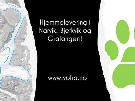 Hjemmelevering i Narvik, Bjerkvik og Gratangen!