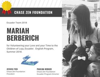 Mariah Mimi Berberich of Chase Zen Found