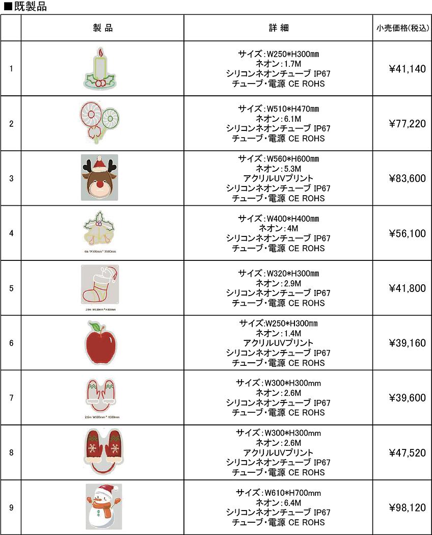 LEDネオン参考価格表