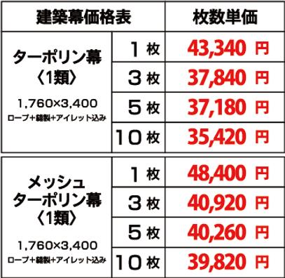 建築幕価格表