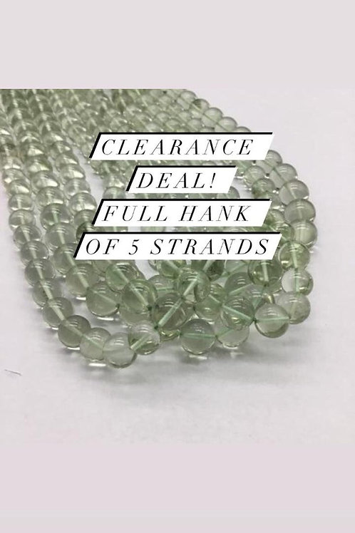 Closeout Sale price Green AmethystPlain Balls 5 strands full hank wholesale