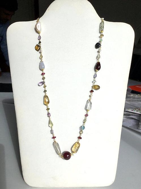 Silver gemstone necklace 29 '', silver necklace, layer necklaces, silver