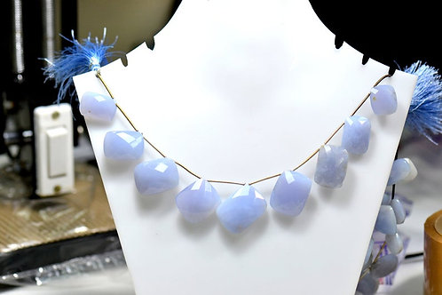 Blue Chalcedony - 8'' Africa Faceted Rectangle 1 Strand Gemstone